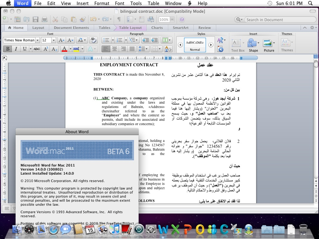 arabic support for office mac 2011