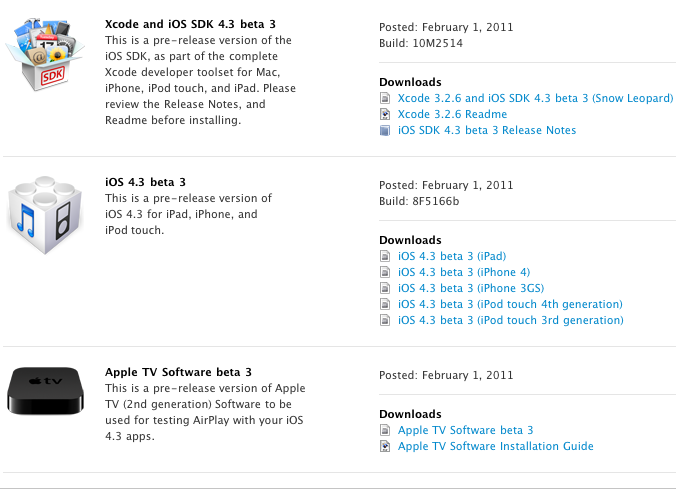 Apple Releases iOS 4.3 Beta 3 for Developers