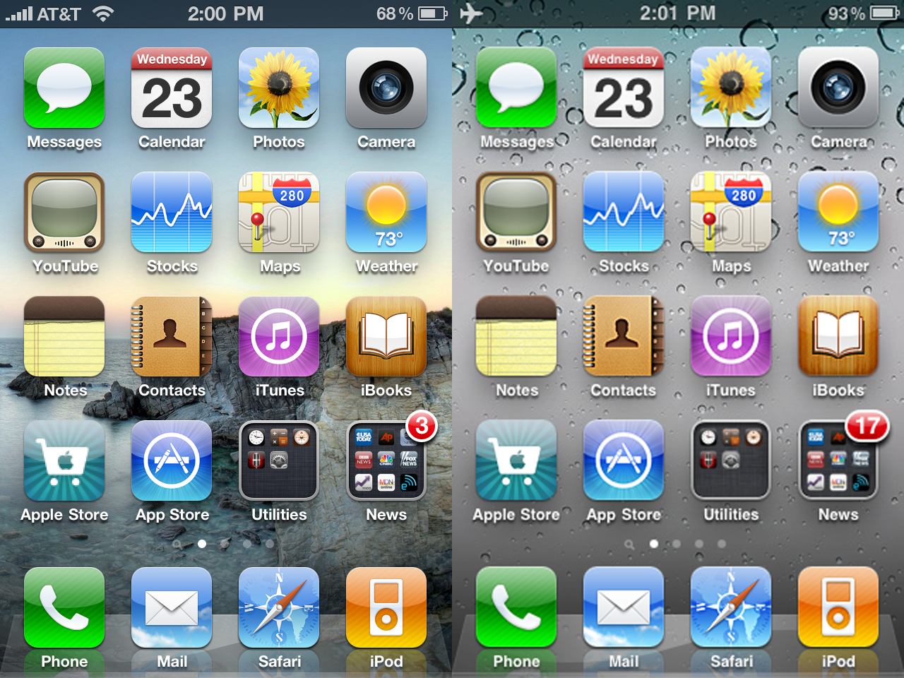 Comparing iphone 4 and iphone 3gs screens saudimac for Wallpaper for iphone 3gs home screen